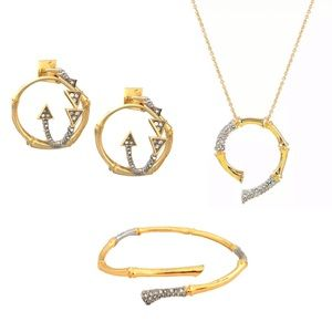 ALEXIS BITTAR Bamboo Crystal Encrusted Jewelry Set